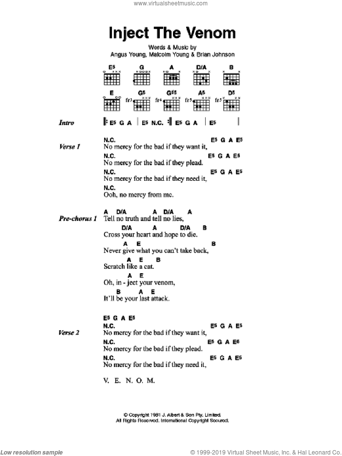 Inject The Venom sheet music for guitar (chords) by AC/DC and Brian Johnson, intermediate guitar (chords). Score Image Preview.