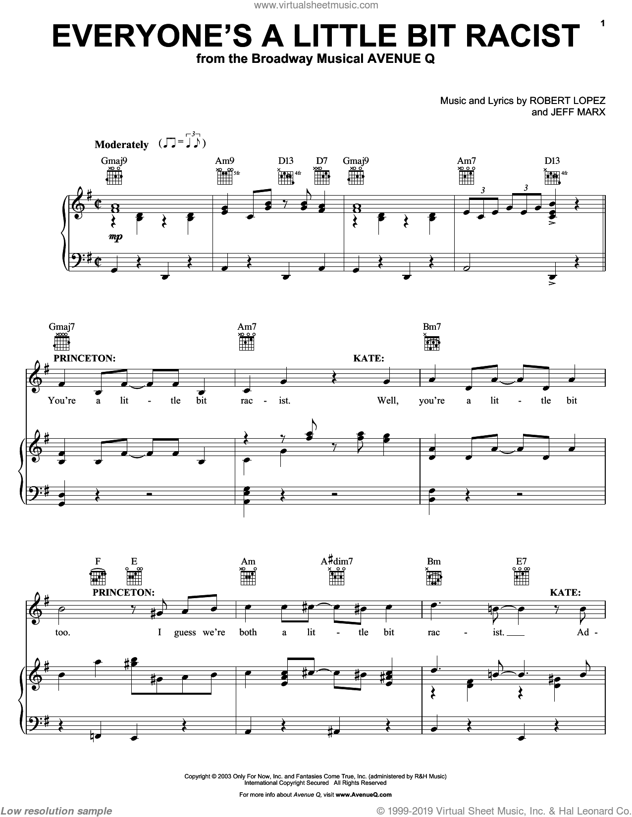 Everyone's A Little Bit Racist (from Avenue Q) sheet music for voice, piano or guitar by Avenue Q, Jeff Marx, Robert Lopez and Robert Lopez & Jeff Marx, intermediate skill level