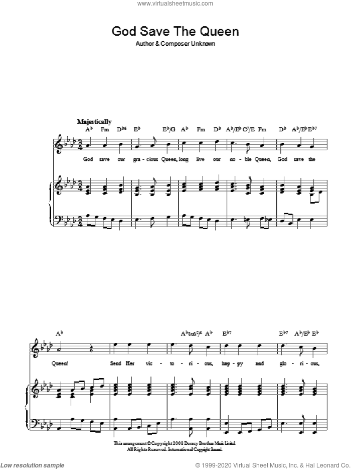 Guitar national anthem guitar tabs : God Save The Queen (UK National Anthem) sheet music for voice ...
