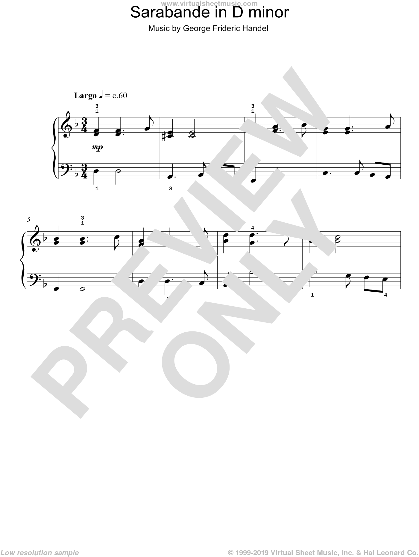 Sarabande in D minor sheet music for piano solo by George Frideric Handel, classical score, easy skill level