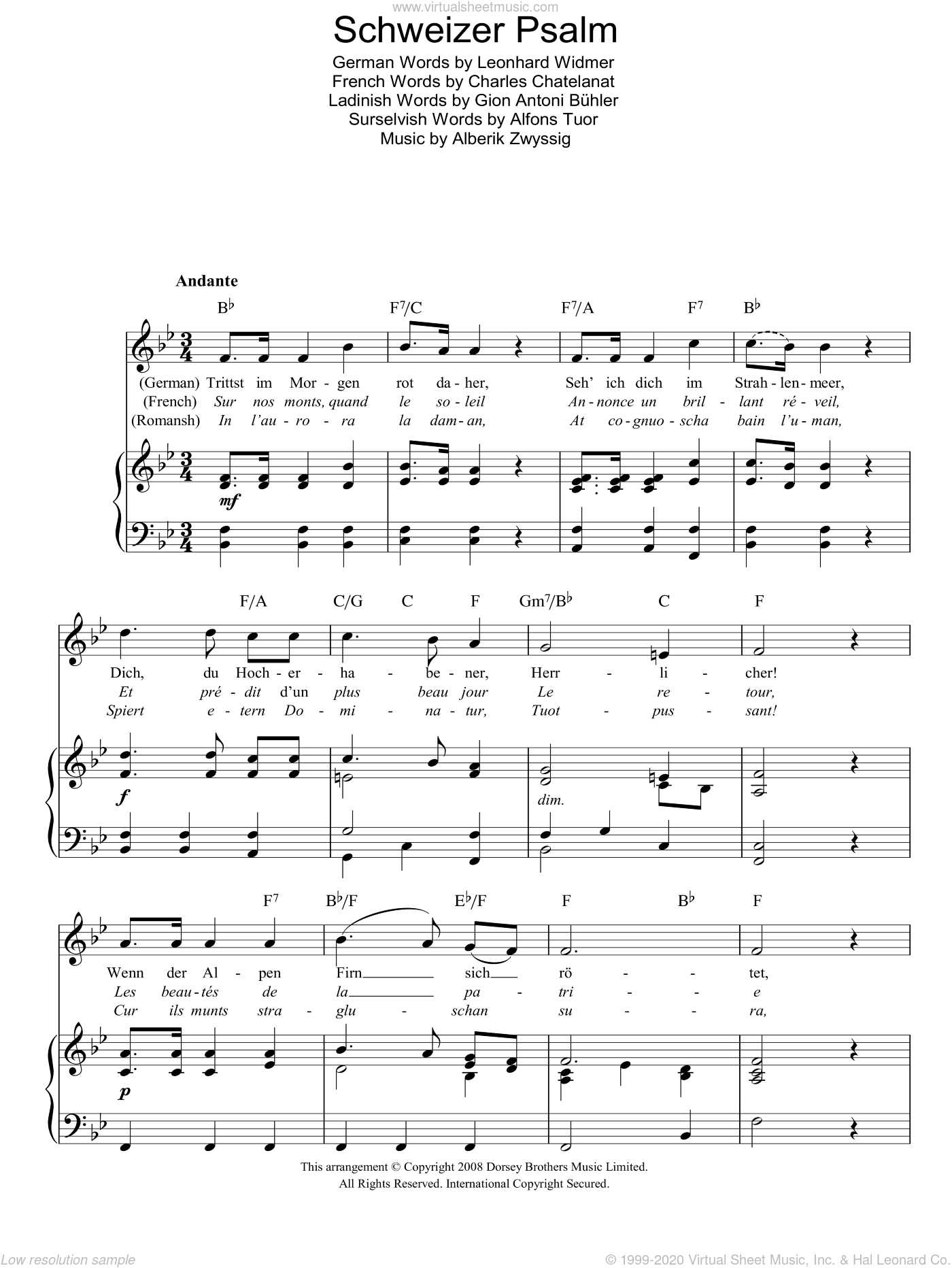 Schweizer Psalm (Swiss National Anthem) sheet music for voice, piano or guitar by Alberik Zwyssig, Alfons Tuor, Charles Chatelanat, Gion Antoni Buhler and Leonhard Widmer, intermediate skill level
