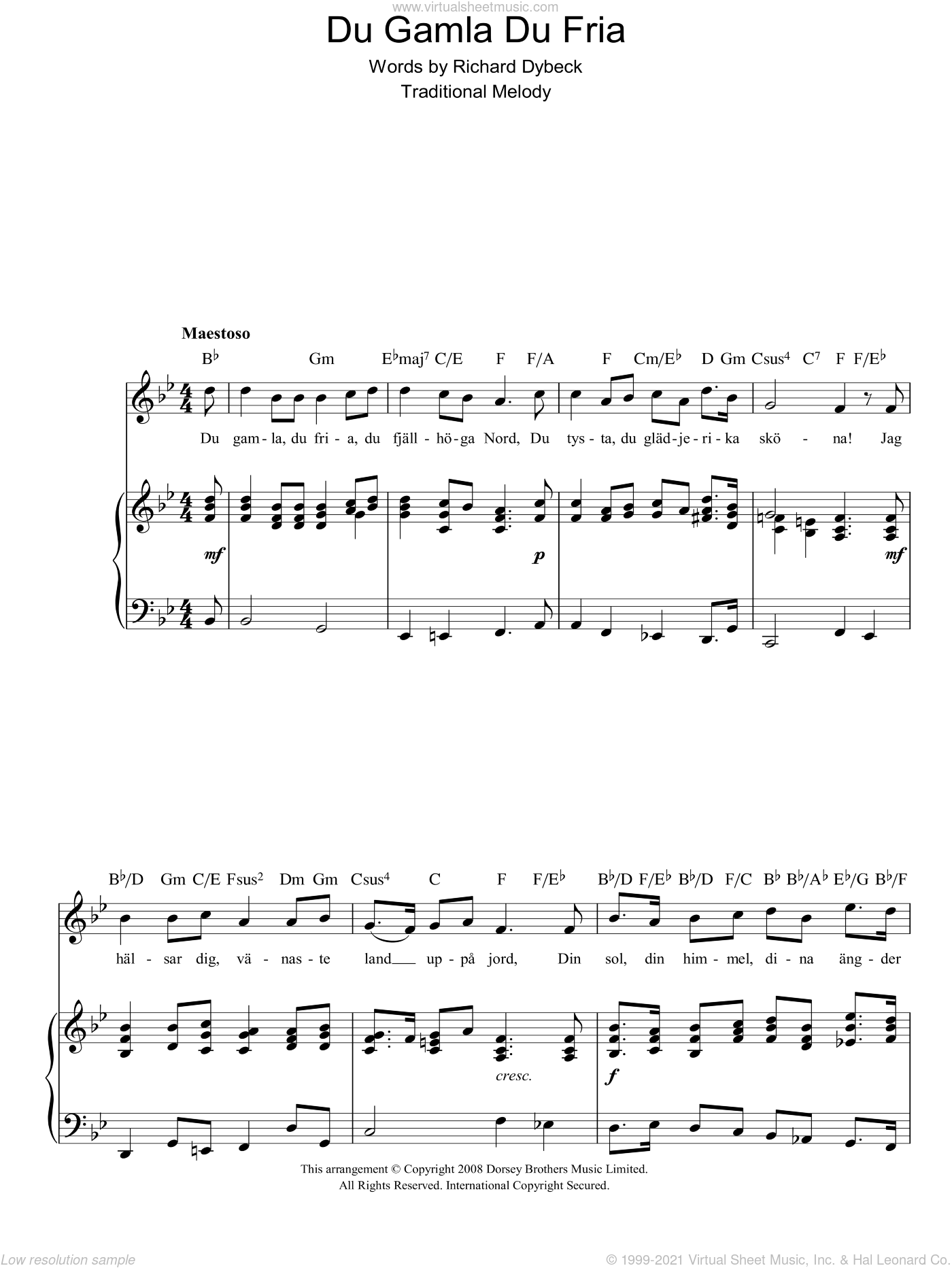 Du Gamla Du Fria (Swedish National Anthem) sheet music for voice, piano or guitar by Richard Dybeck and Miscellaneous. Score Image Preview.