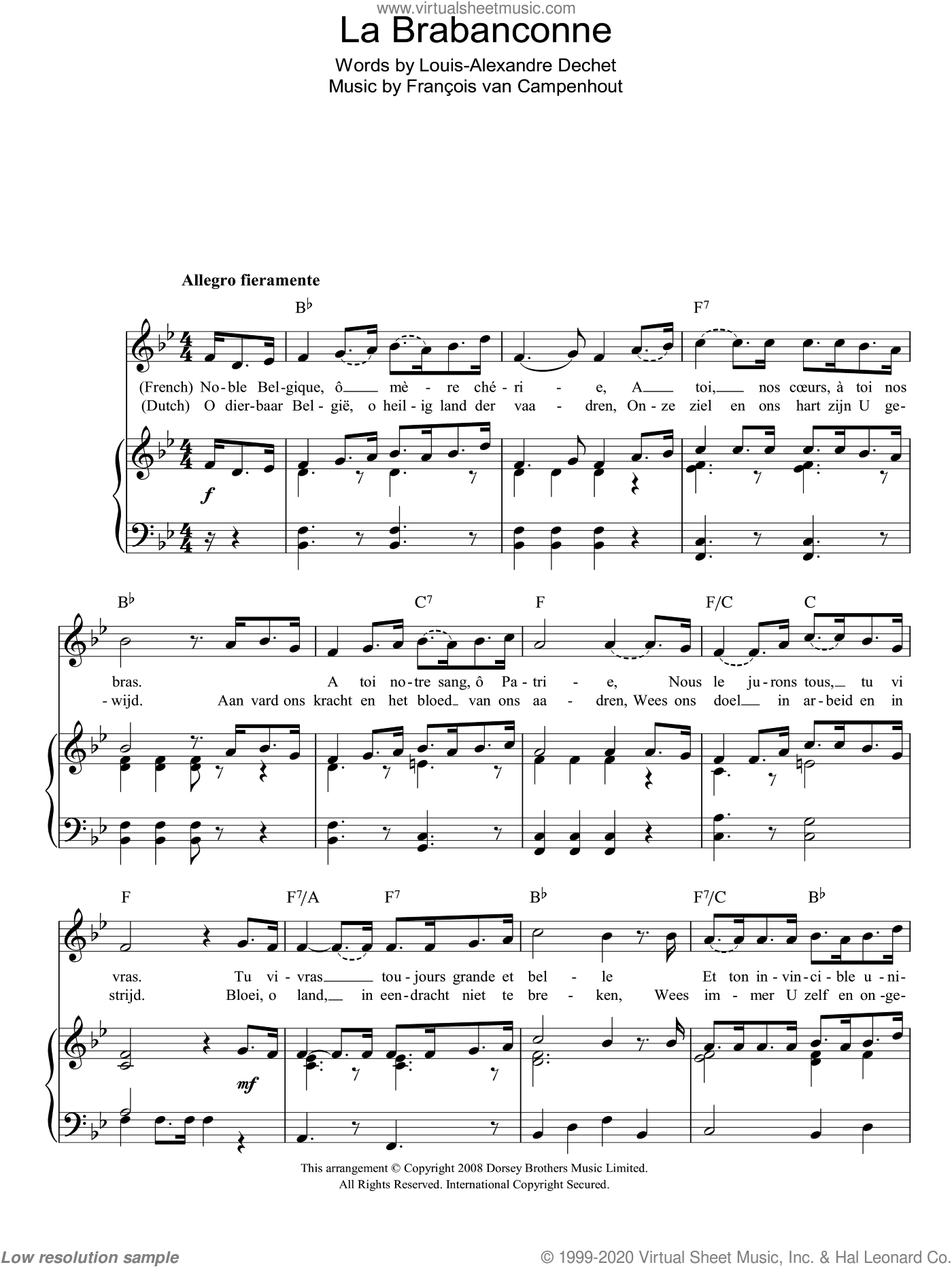 La Brabanconne (Belgian National Anthem) sheet music for voice, piano or guitar by Francois van Campenhout, intermediate. Score Image Preview.