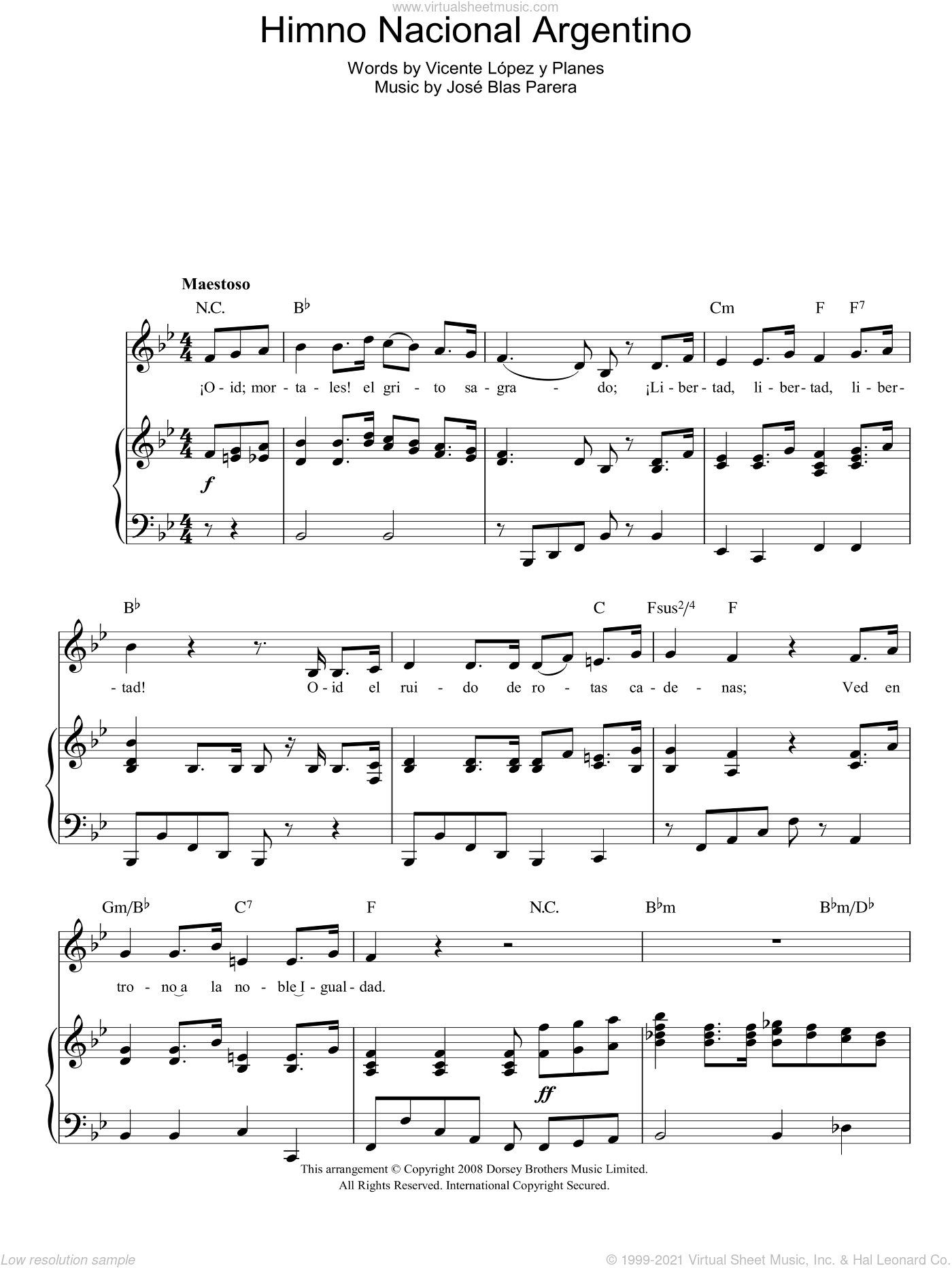 Himno Nacional Argentino (Argentinian National Anthem) sheet music for voice, piano or guitar by Jose Blas Parera and Vicente Lopez y Planes, intermediate skill level
