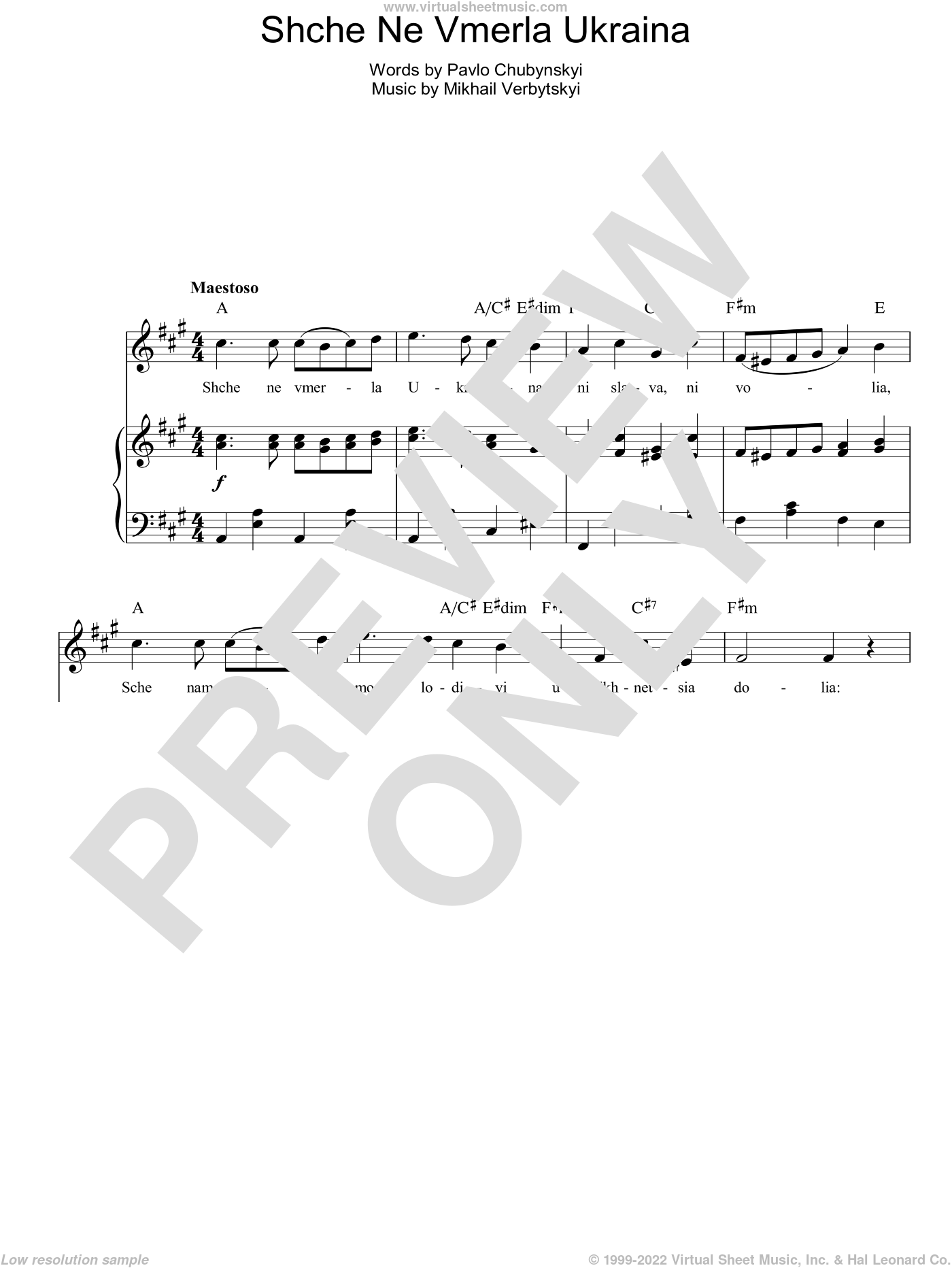 Shche Ne Vmerla Ukraina (Ukrainian National Anthem) sheet music for voice, piano or guitar by Pavlo Chubynskyi. Score Image Preview.
