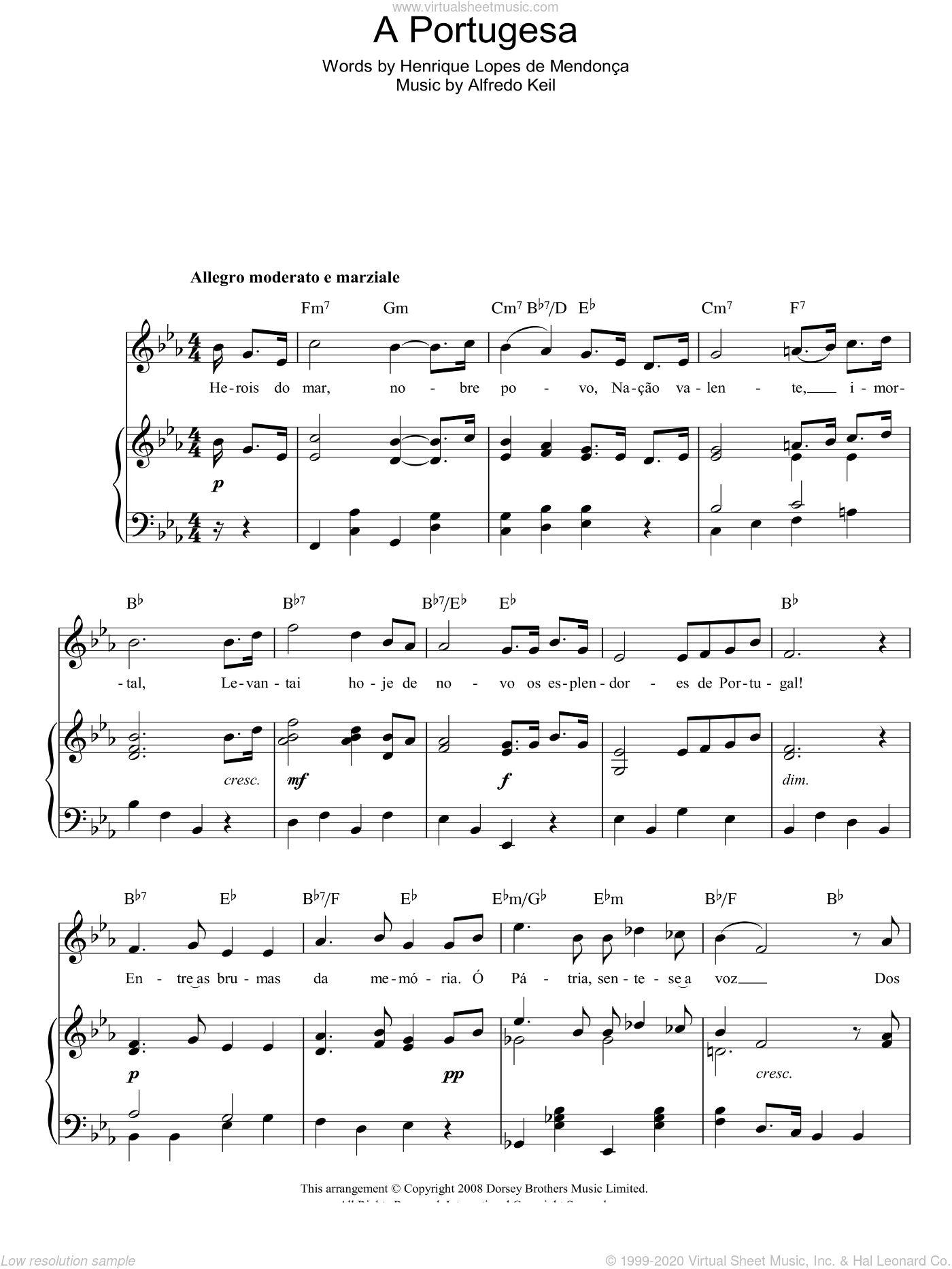 A Portugesa (Portuguese National Anthem) sheet music for voice, piano or guitar by Alfredo Keil, intermediate. Score Image Preview.
