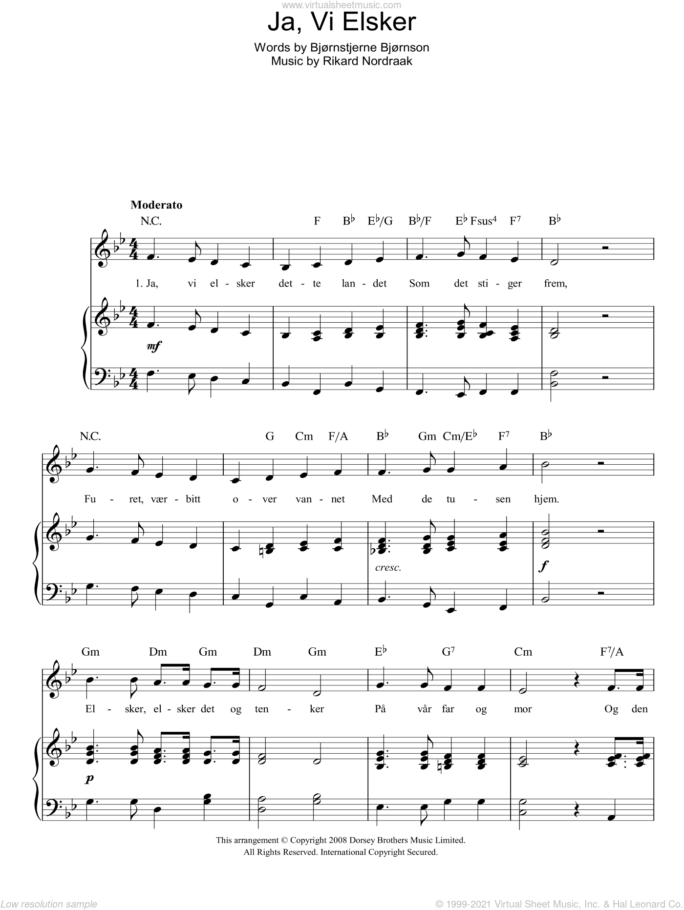 Ja, Vi Elsker (Norwegian National Anthem) sheet music for voice, piano or guitar by Rikard Nordraak and Bjornstjerne Bjornson, intermediate. Score Image Preview.