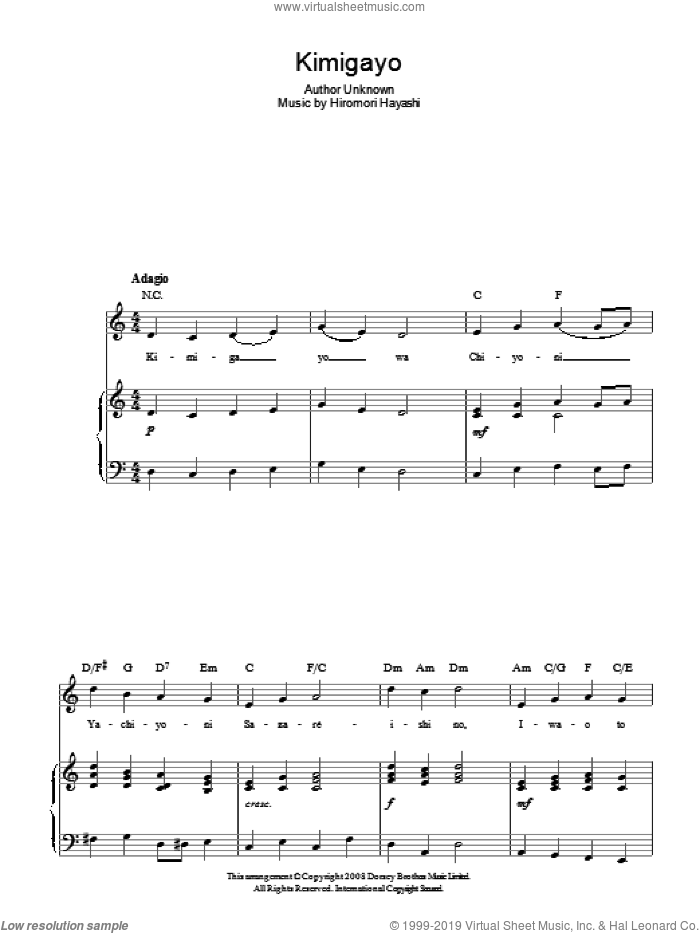 Kimigayo (Japanese National Anthem) sheet music for voice, piano or guitar by Hiromori Hayashi