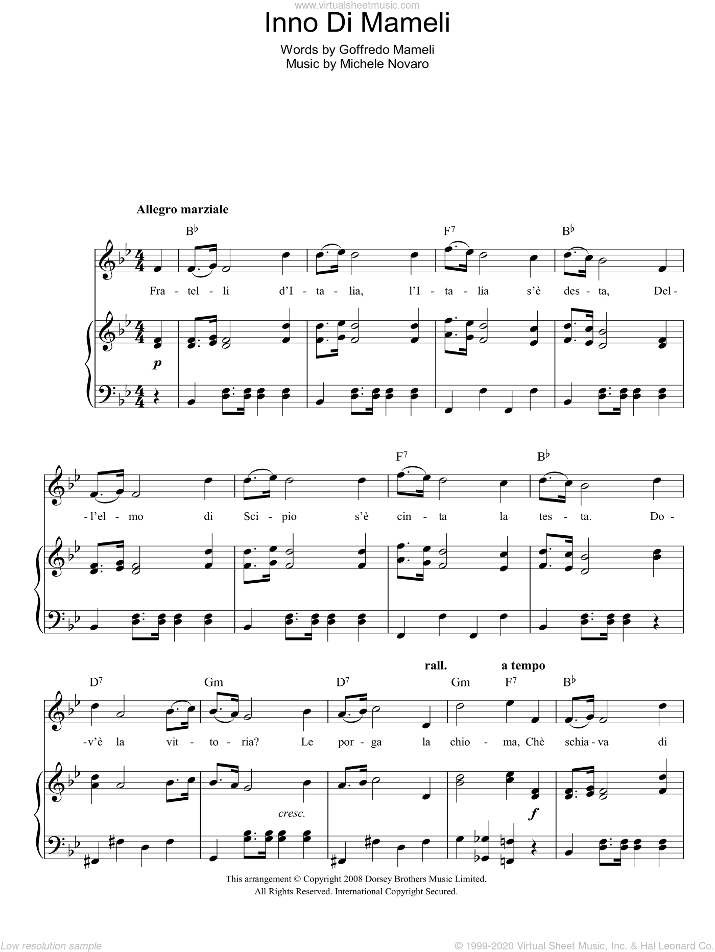 Inno Di Mameli (Italian National Anthem) sheet music for voice, piano or guitar by Michele Novaro and Goffredo Mameli, intermediate. Score Image Preview.