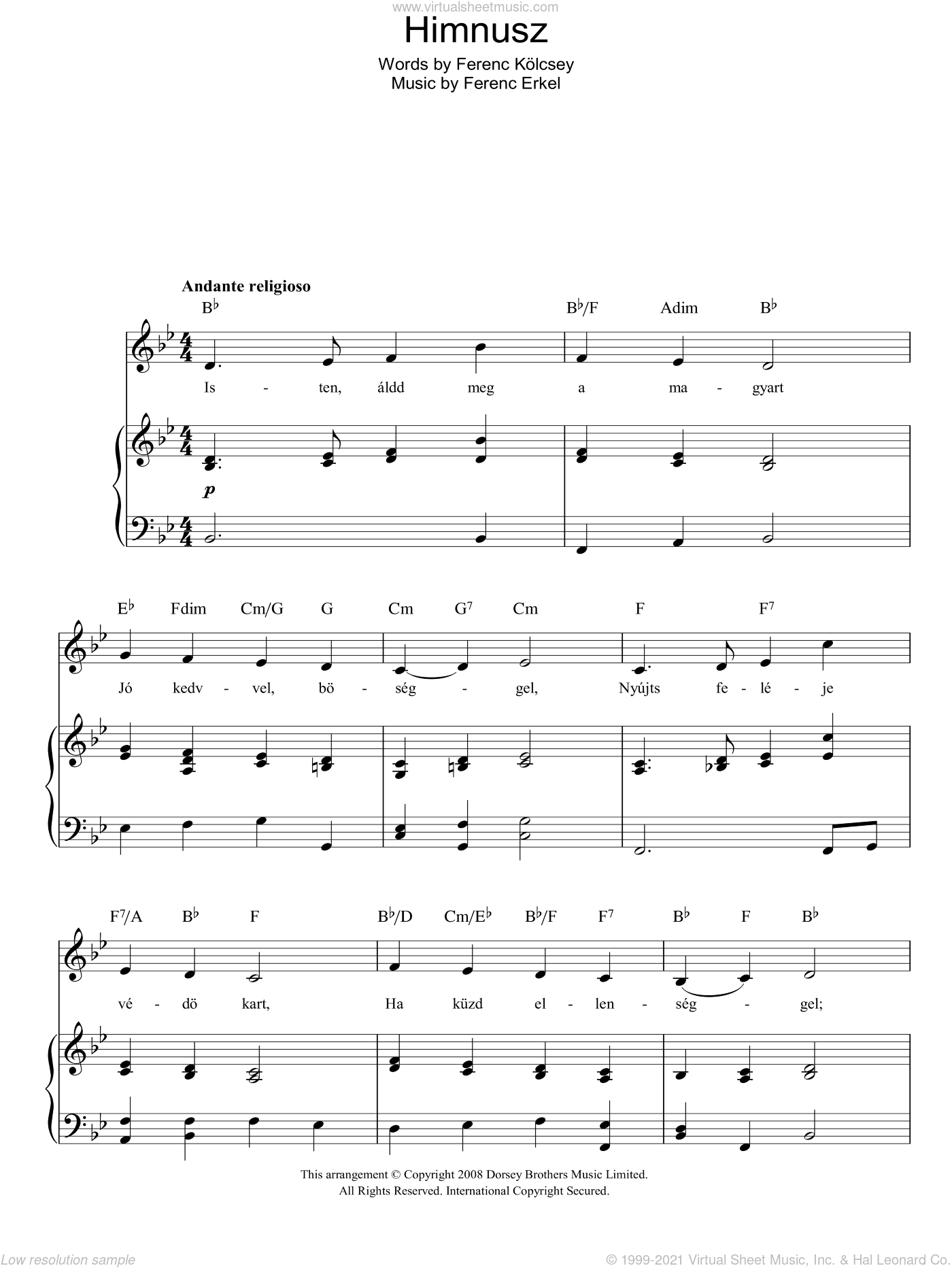 Himnusz (Hungarian National Anthem) sheet music for voice, piano or guitar by Ferenc Erkel and Ferenc Kolcsey, intermediate skill level