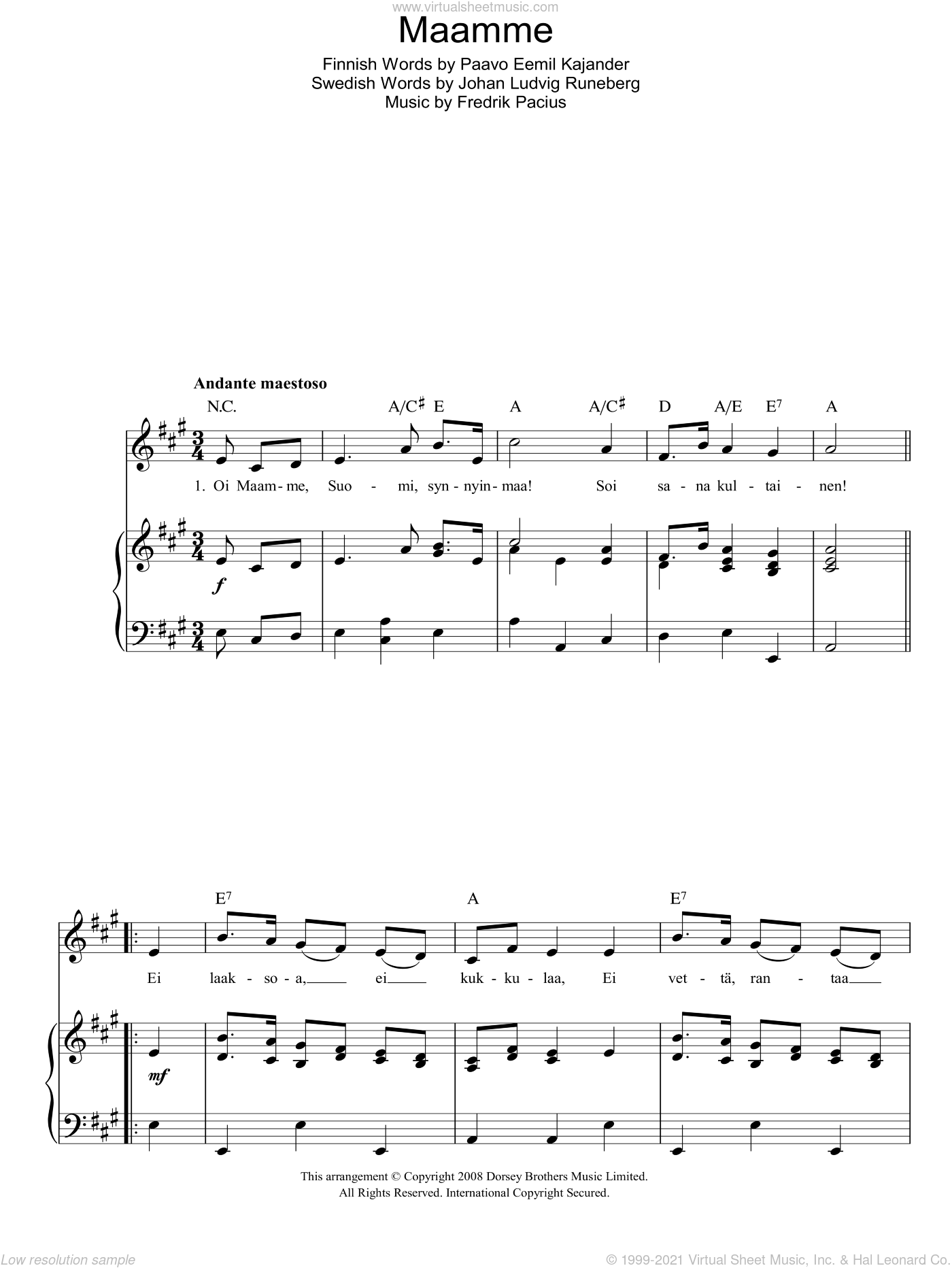 Maamme (Finnish National Anthem) sheet music for voice, piano or guitar by Paavo Eemil Kajander and Johan Ludvig Runeberg