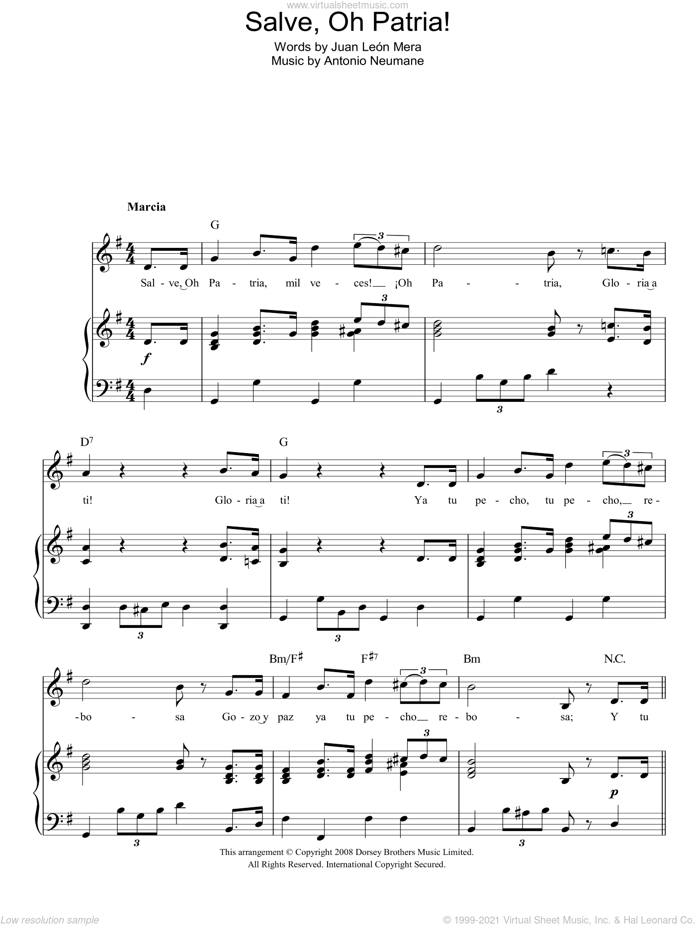 Salve, Oh Patria! (Ecuadorian National Anthem) sheet music for voice, piano or guitar by Antonio Neumane and Juan Leon Mera, intermediate. Score Image Preview.