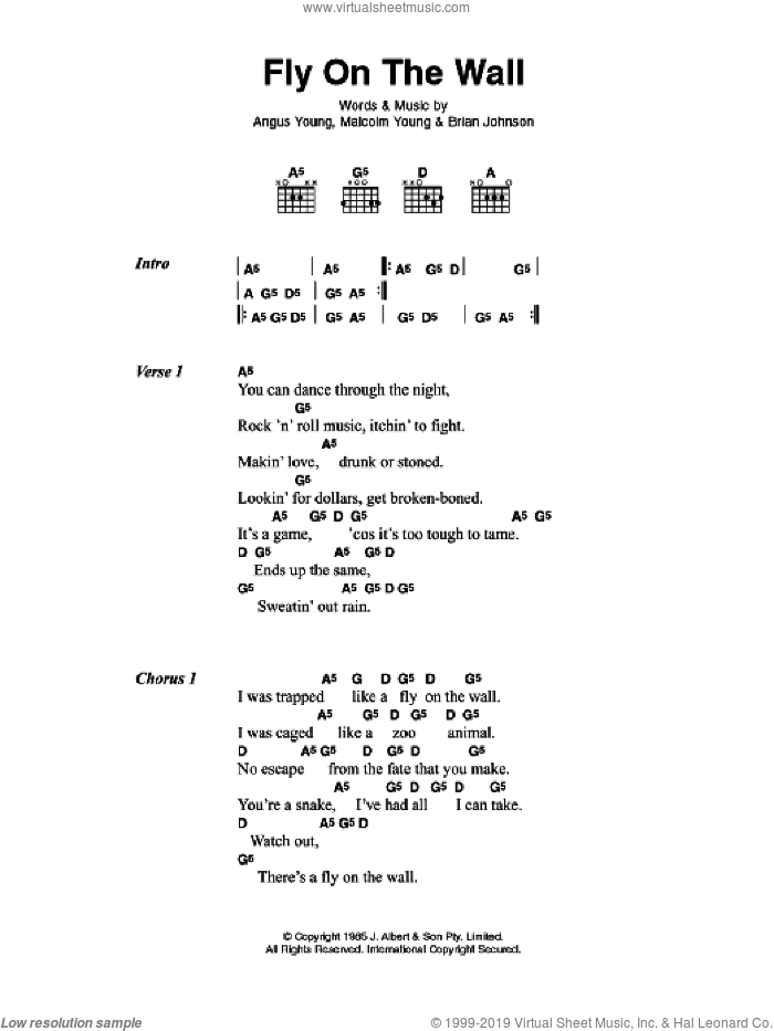 Fly On The Wall sheet music for guitar (chords) by Angus Young