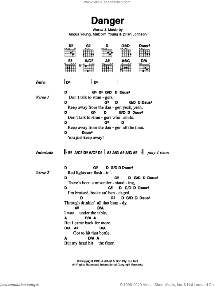 Danger sheet music for guitar (chords) by AC/DC, Angus Young, Brian Johnson and Malcolm Young, intermediate skill level