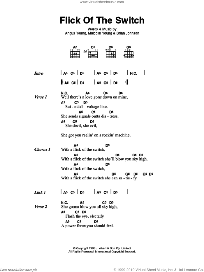 Flick Of The Switch sheet music for guitar (chords) by AC/DC and Brian Johnson, intermediate guitar (chords). Score Image Preview.