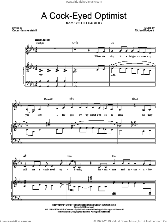 A Cockeyed Optimist sheet music for voice, piano or guitar by Richard Rodgers, Barbra Streisand, Rodgers & Hammerstein and Oscar II Hammerstein. Score Image Preview.