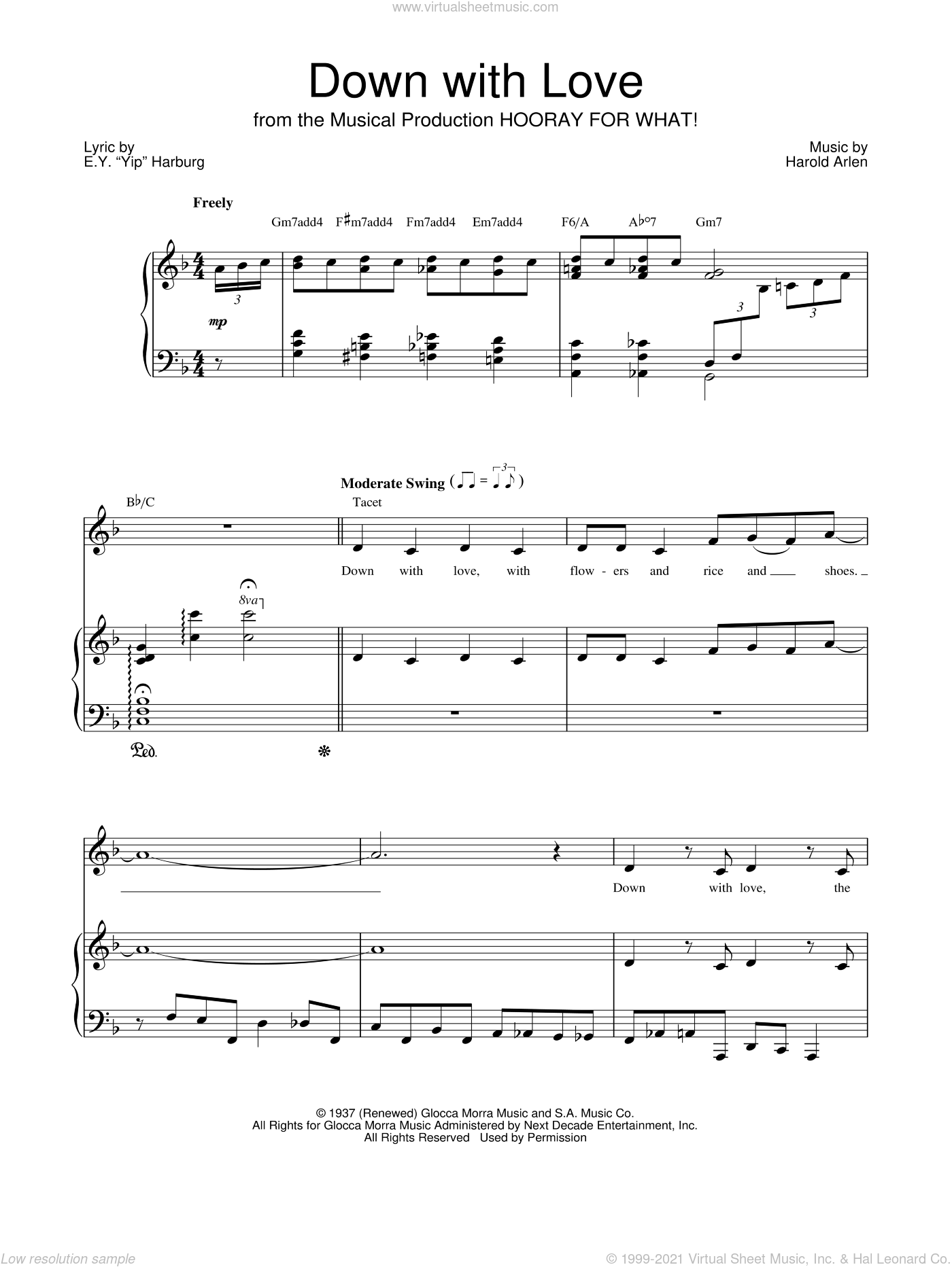 Down With Love sheet music for voice, piano or guitar by Barbra Streisand, E.Y. Harburg and Harold Arlen, intermediate skill level