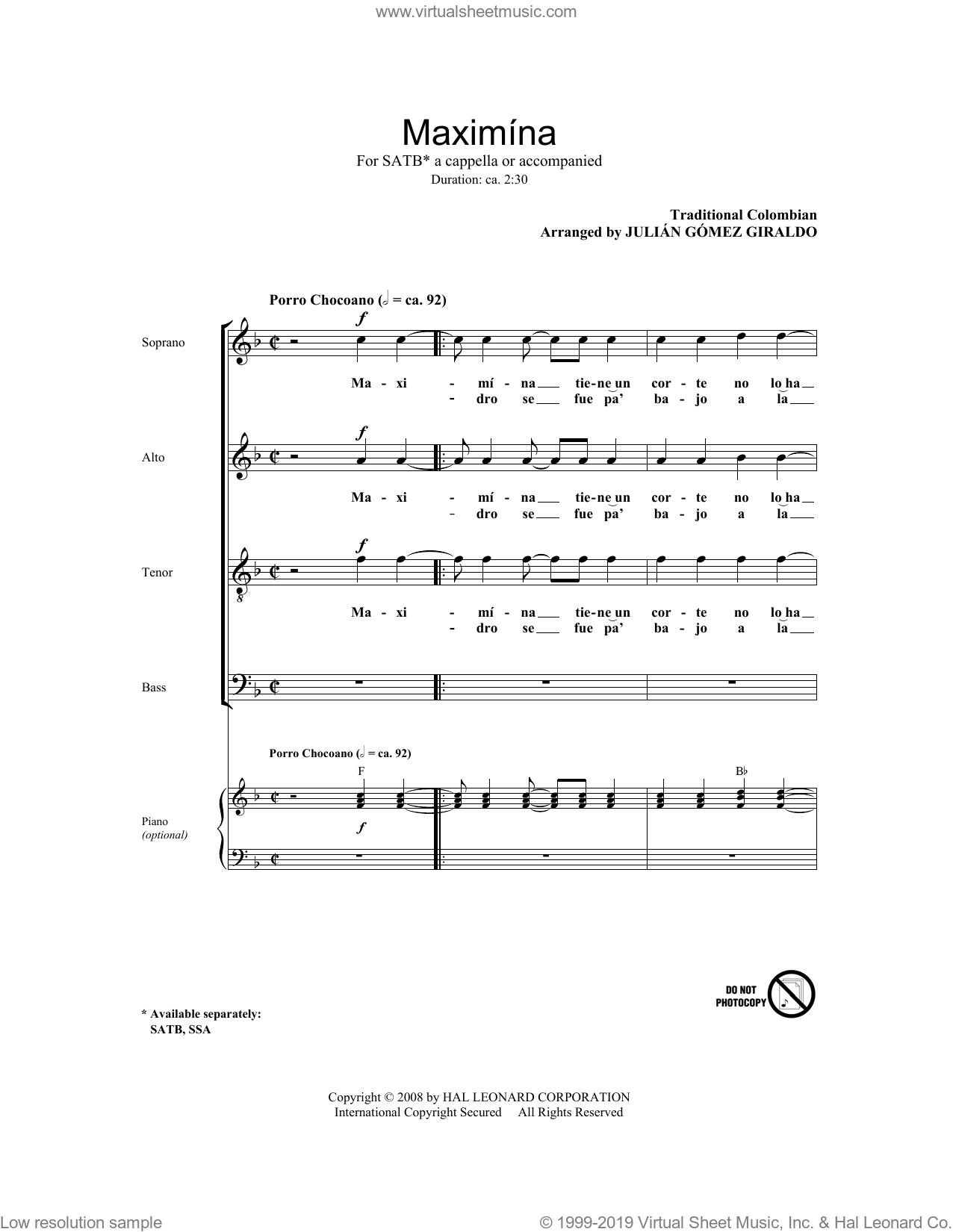 Maximina sheet music for choir (SATB: soprano, alto, tenor, bass) by Julian Gomez Giraldo and Miscellaneous, intermediate. Score Image Preview.