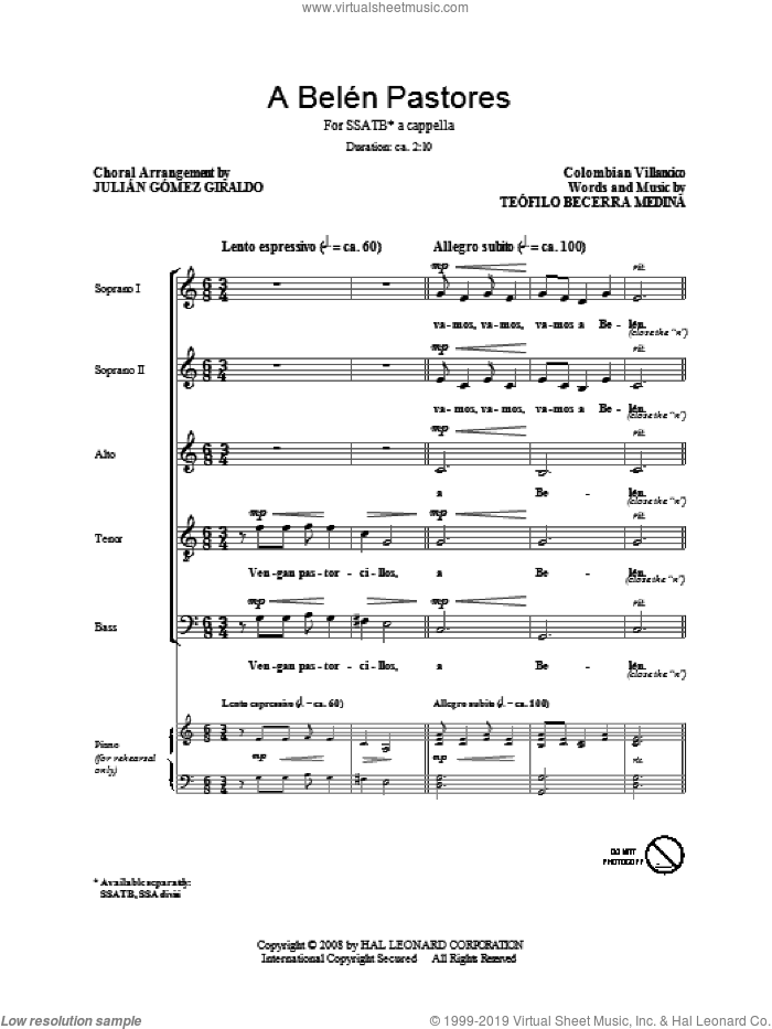 A Belen Pastores (Villancico) sheet music for choir (SATB) by Teofilo Becerra Medina