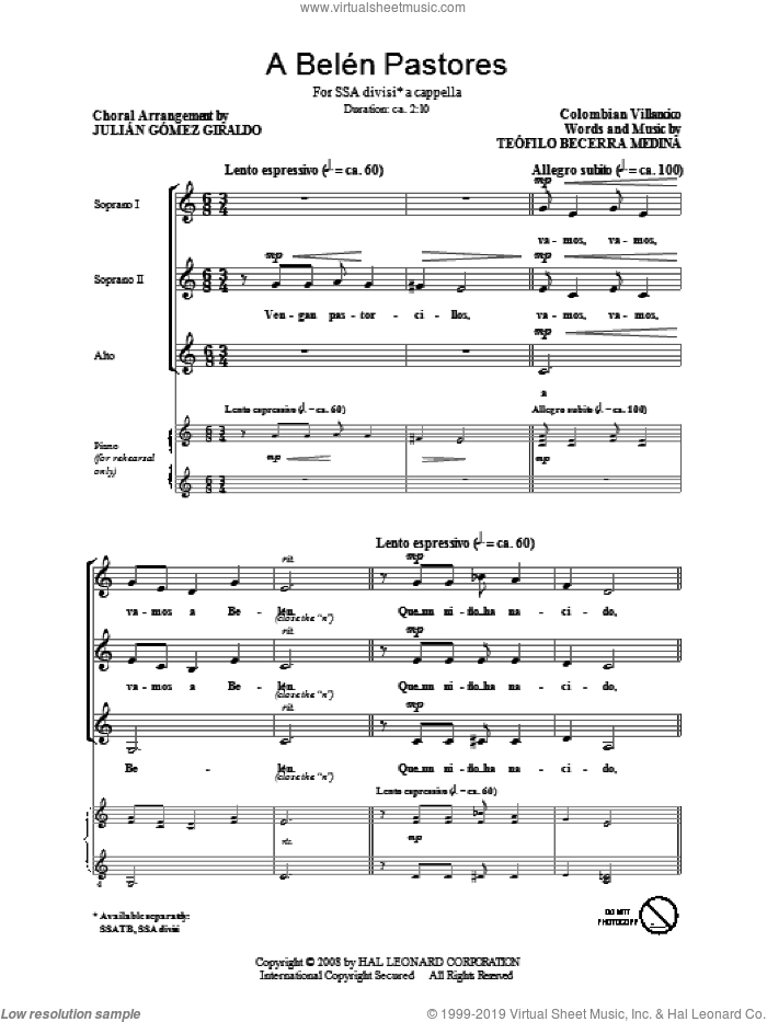 A Belen Pastores (Villancico) sheet music for choir (soprano voice, alto voice, choir) by Julian Gomez Giraldo, intermediate. Score Image Preview.