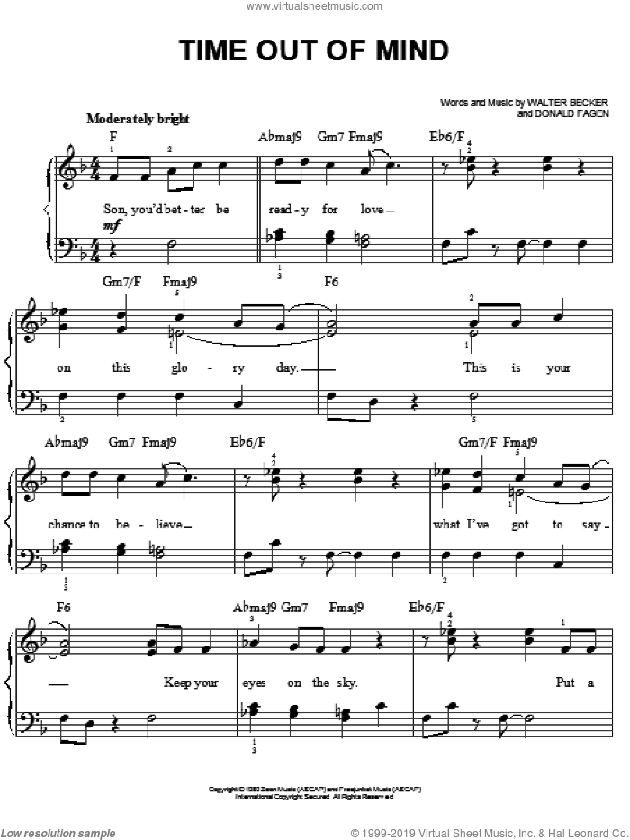 Time Out Of Mind sheet music for piano solo by Steely Dan, Donald Fagen and Walter Becker, easy skill level