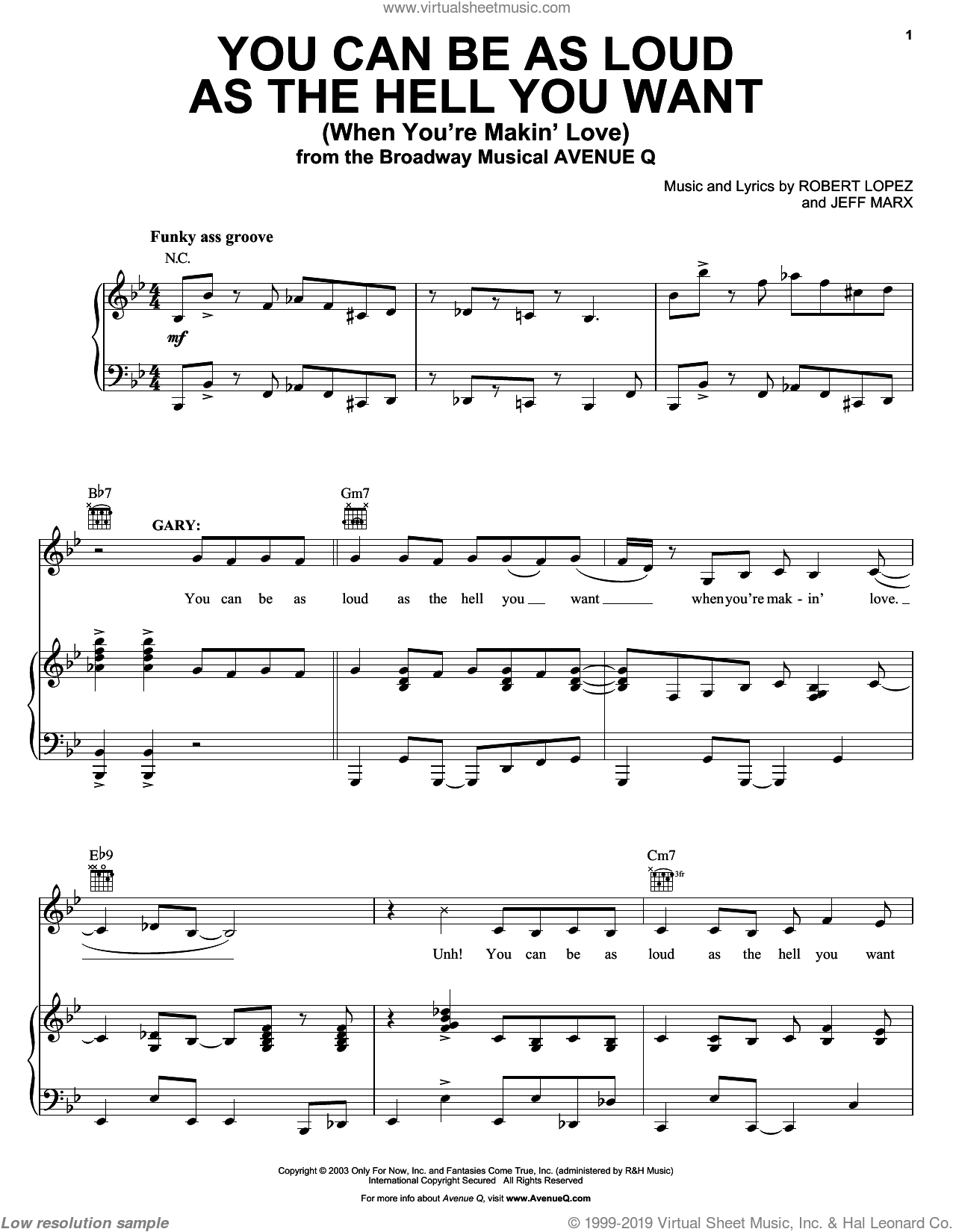 You Can Be As Loud As The Hell You Want (When You're Makin' Love) sheet music for voice, piano or guitar by Avenue Q, Jeff Marx and Robert Lopez, intermediate skill level