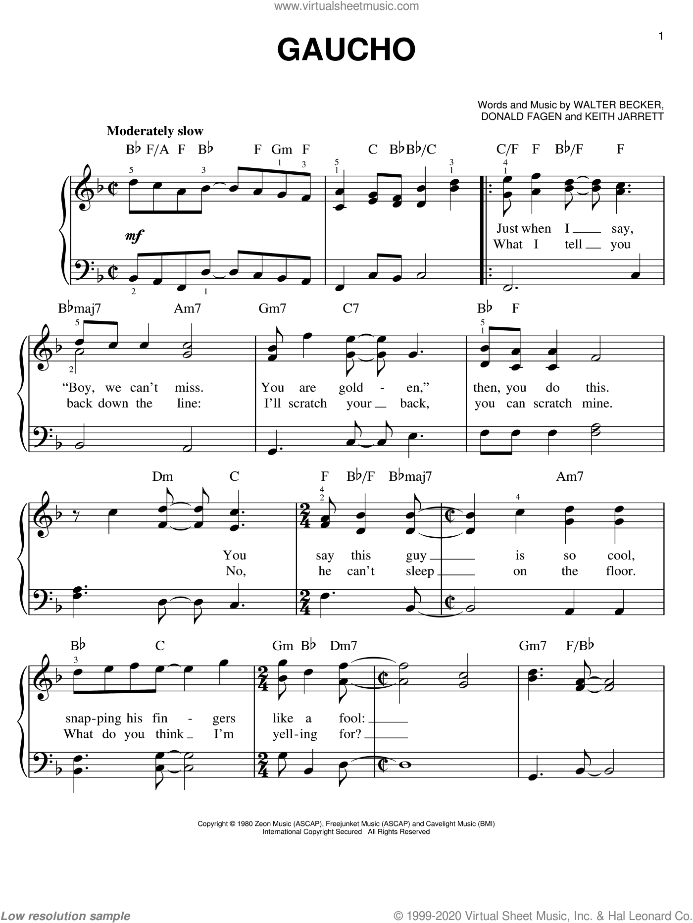 Gaucho sheet music for piano solo by Steely Dan, Donald Fagen, Keith Jarrett and Walter Becker, easy skill level