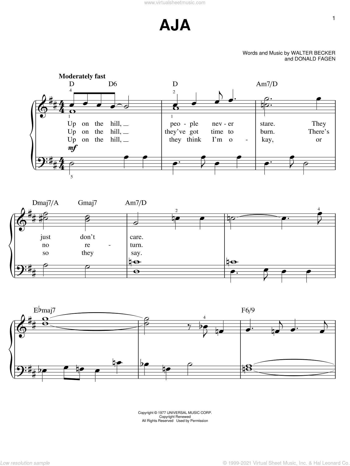 Aja sheet music for piano solo by Steely Dan, Donald Fagen and Walter Becker, easy skill level
