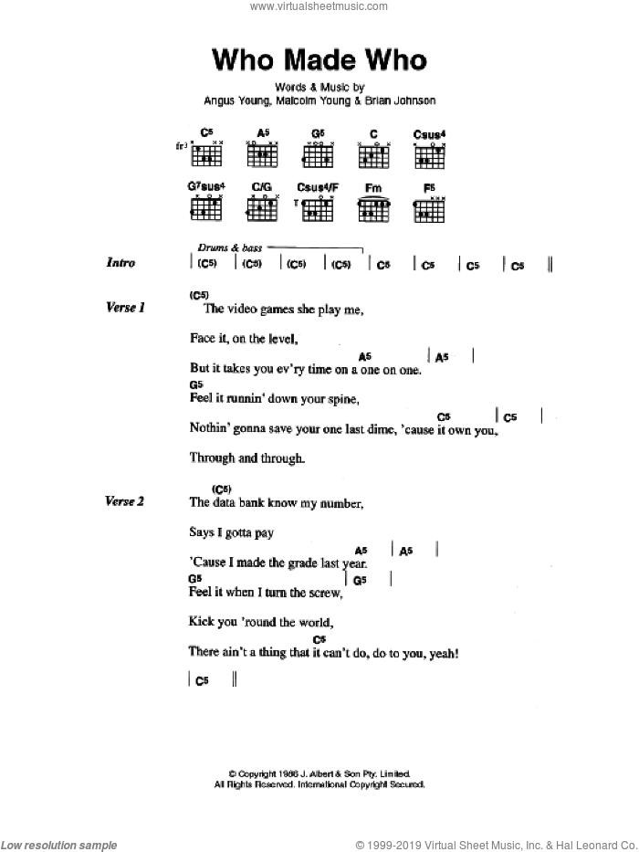 Who Made Who sheet music for guitar (chords) by Malcolm Young, AC/DC and Angus Young. Score Image Preview.