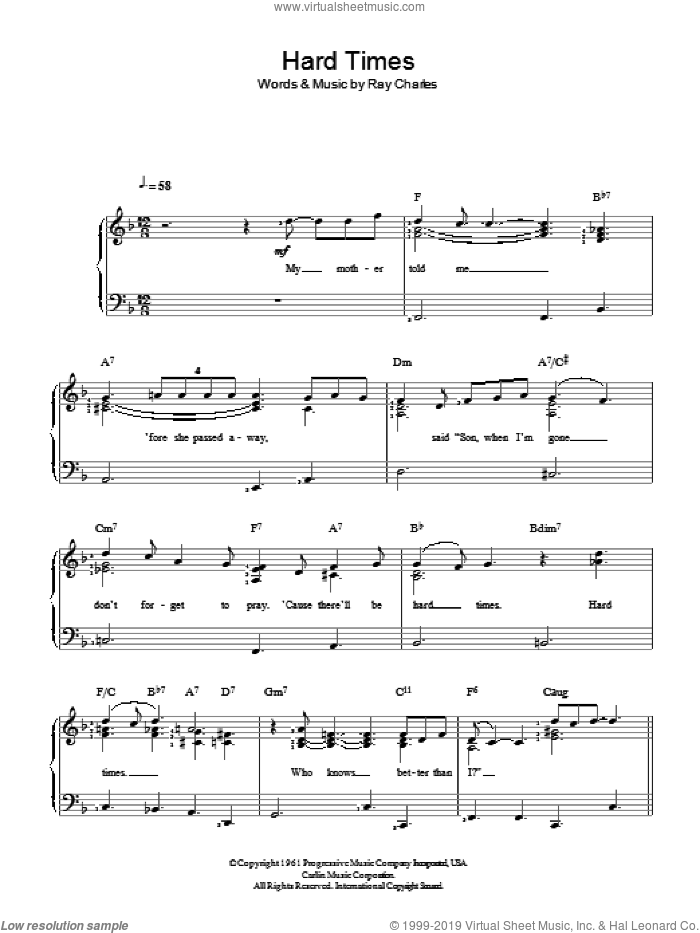 Hard Times sheet music for piano solo by Ray Charles, easy skill level