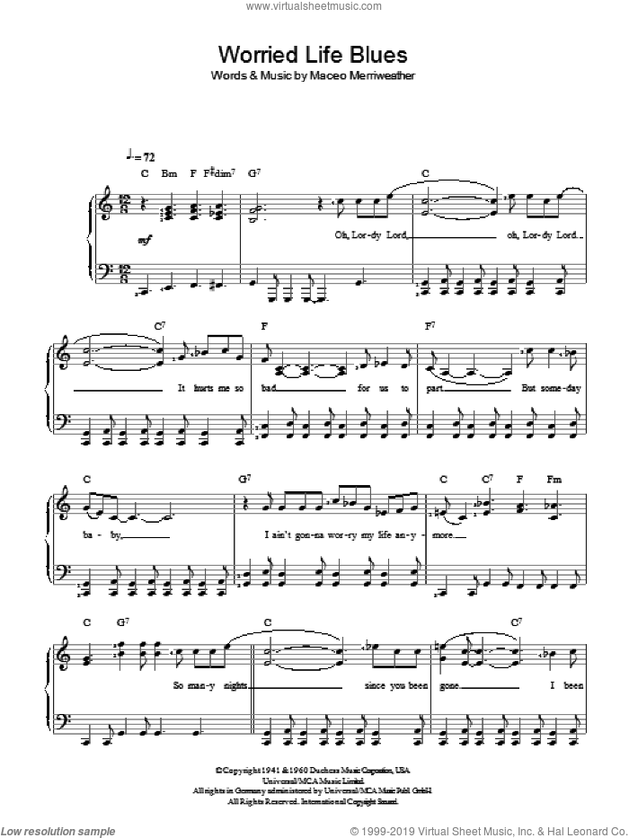 Worried Life Blues sheet music for piano solo by Maceo Merriweather. Score Image Preview.