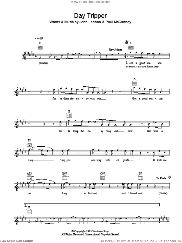Day Tripper sheet music for voice and other instruments (fake book) by John Lennon, The Beatles and Paul McCartney. Score Image Preview.