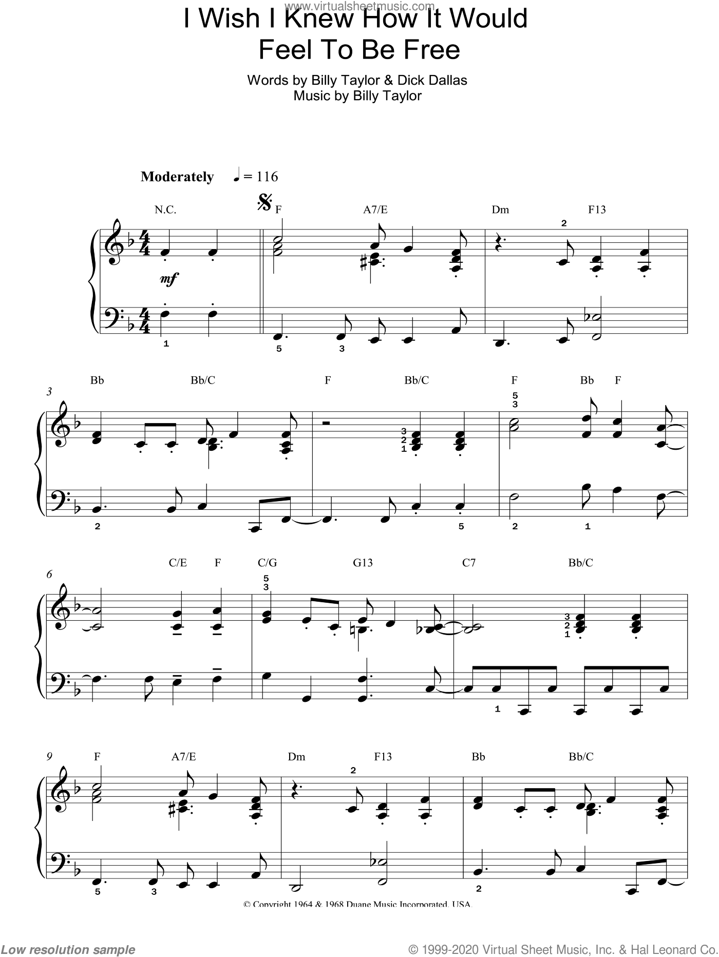 I Wish I Knew How It Would Feel To Be Free sheet music for piano solo by Billy Taylor, Nina Simone and Dick Dallas. Score Image Preview.