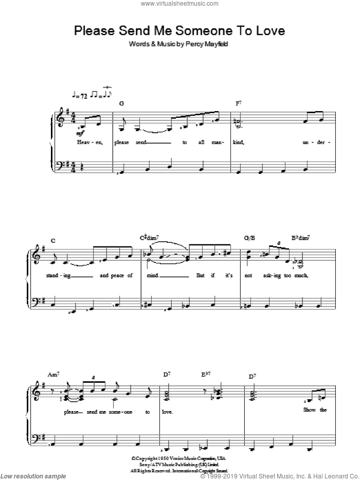 Please Send Me Someone To Love sheet music for piano solo by Percy Mayfield. Score Image Preview.