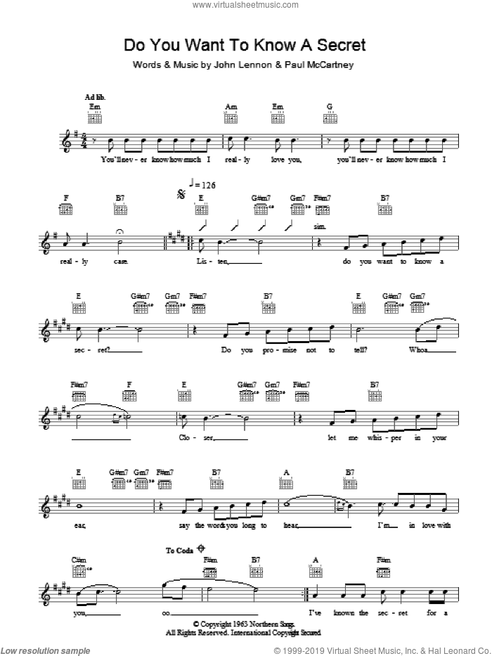 Do You Want To Know A Secret sheet music for voice and other instruments (fake book) by John Lennon, The Beatles and Paul McCartney. Score Image Preview.