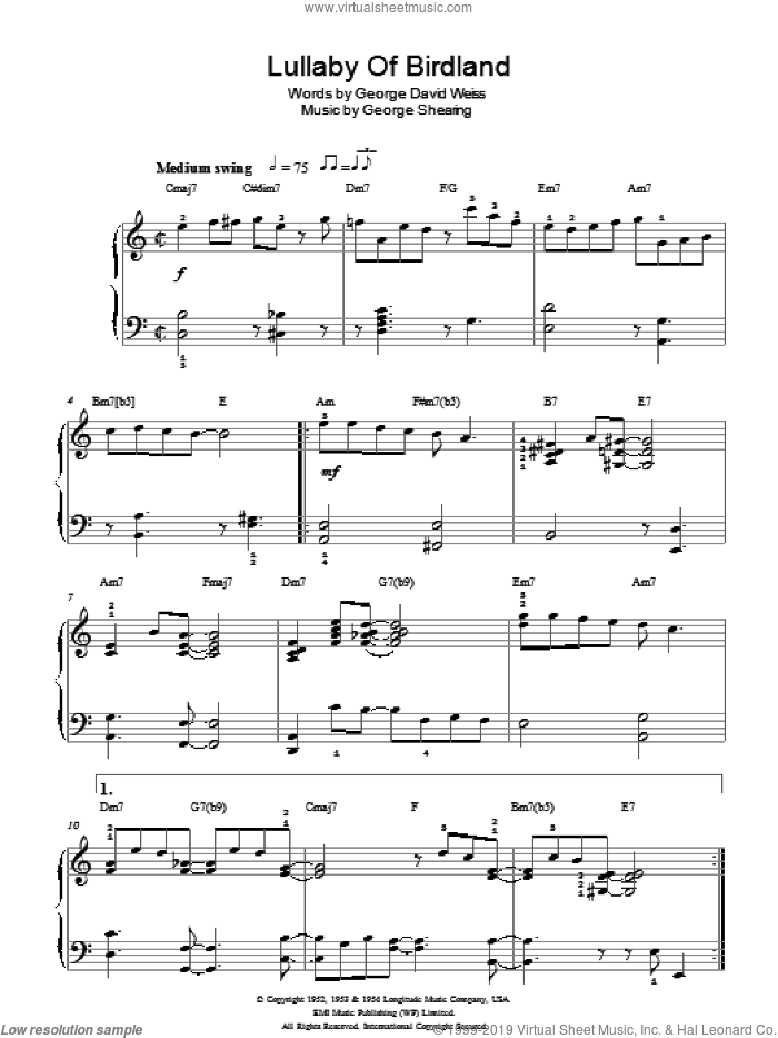 Lullaby Of Birdland sheet music for piano solo by George Shearing and George David Weiss. Score Image Preview.