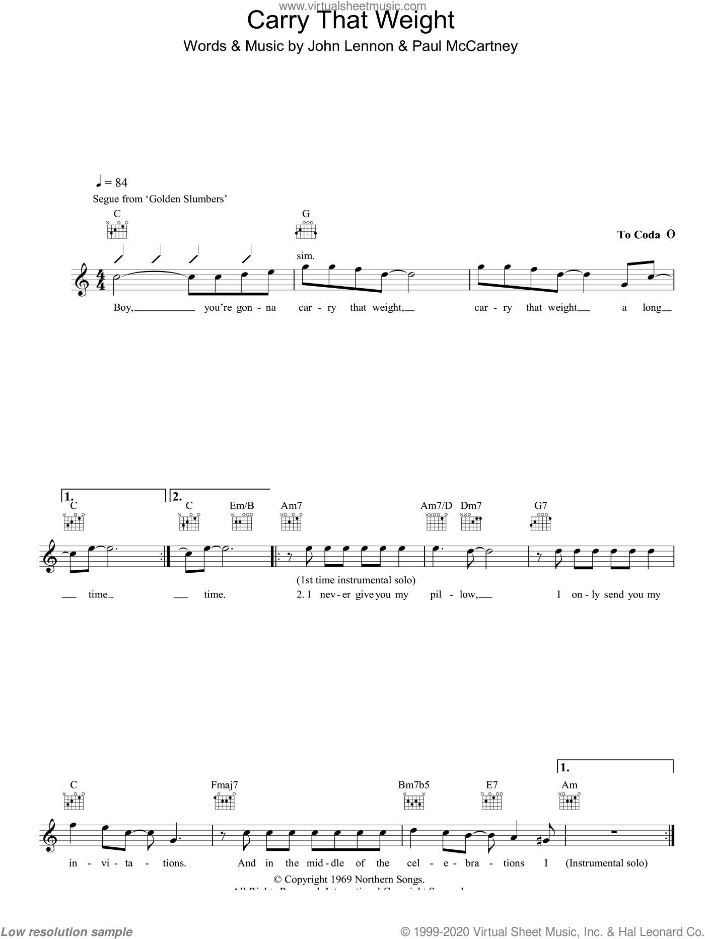 Carry That Weight sheet music for voice and other instruments (fake book) by The Beatles, John Lennon and Paul McCartney, intermediate skill level