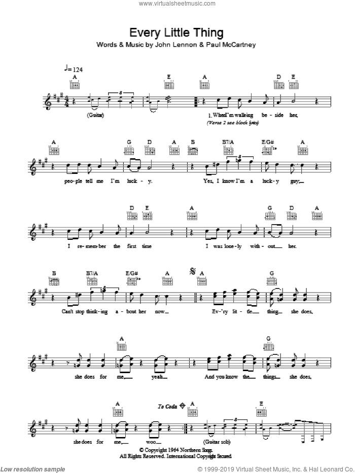 Every Little Thing sheet music for voice and other instruments (fake book) by The Beatles, John Lennon and Paul McCartney, intermediate
