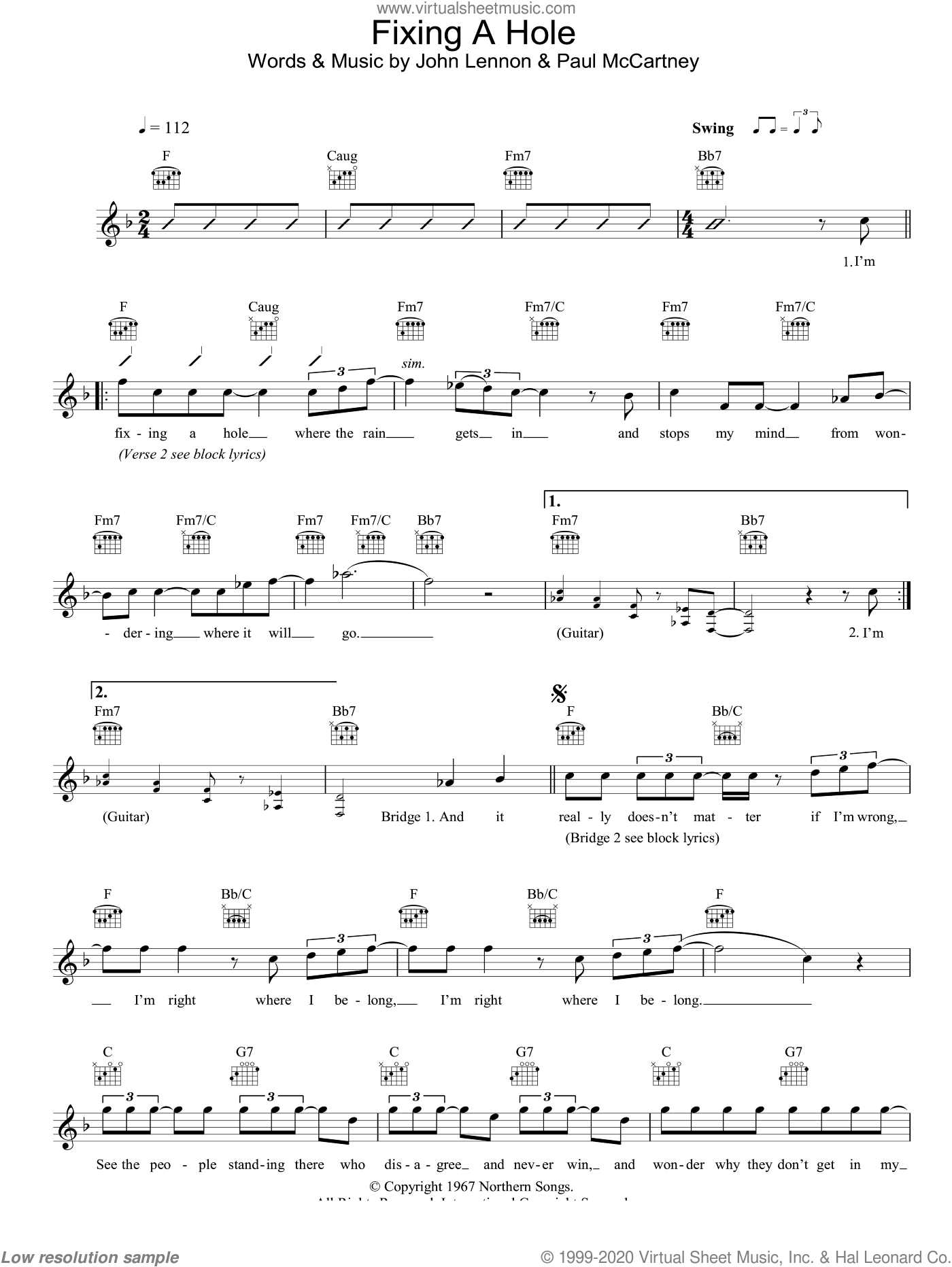 Fixing A Hole sheet music for voice and other instruments (fake book) by The Beatles, John Lennon and Paul McCartney, intermediate. Score Image Preview.