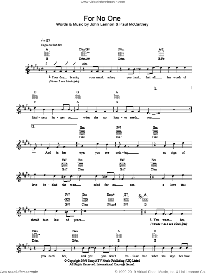 For No One sheet music for voice and other instruments (fake book) by The Beatles, John Lennon and Paul McCartney, intermediate skill level