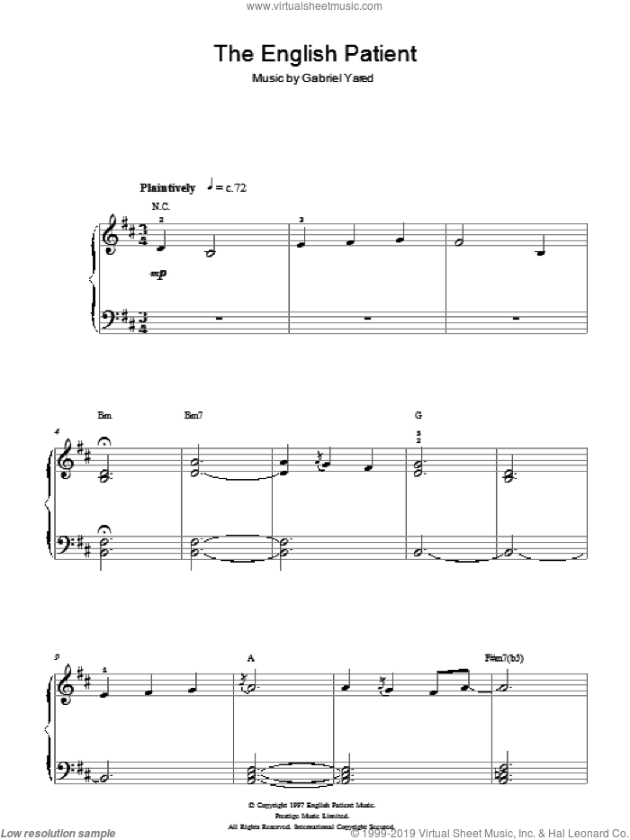 The English Patient sheet music for piano solo (chords) by Gabriel Yared