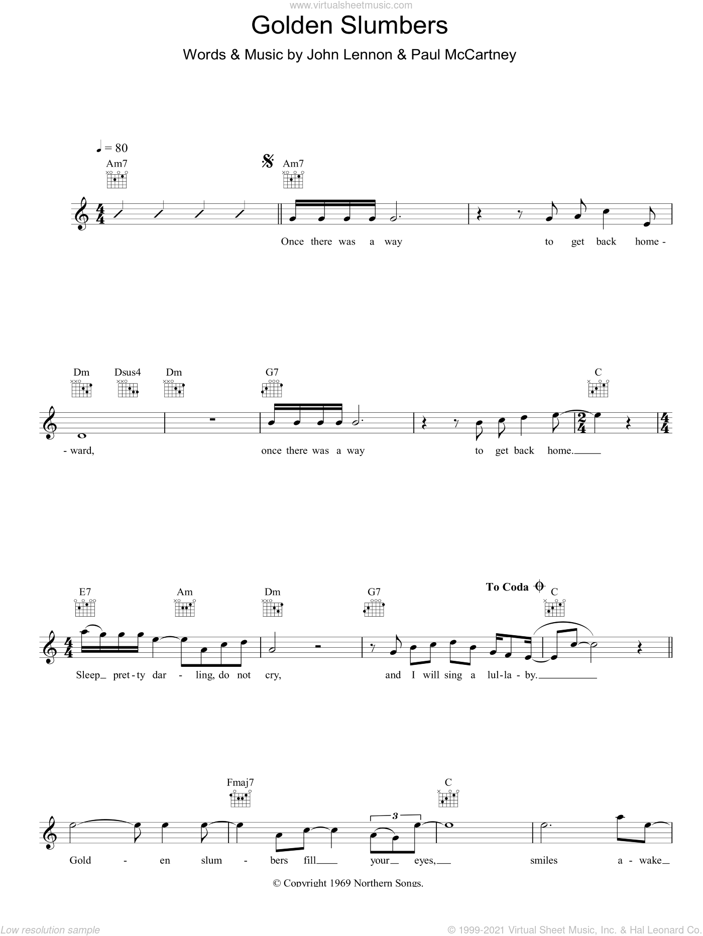 Golden Slumbers sheet music for voice and other instruments (fake book) by The Beatles, John Lennon and Paul McCartney, intermediate. Score Image Preview.