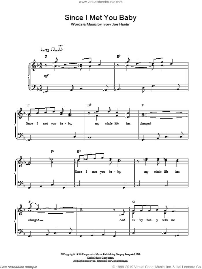 Since I Met You Baby sheet music for piano solo by Ivory Joe Hunter. Score Image Preview.