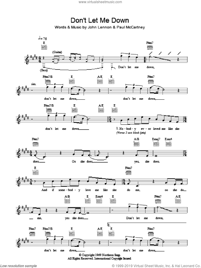 Don't Let Me Down sheet music for voice and other instruments (fake book) by The Beatles, John Lennon and Paul McCartney, intermediate skill level