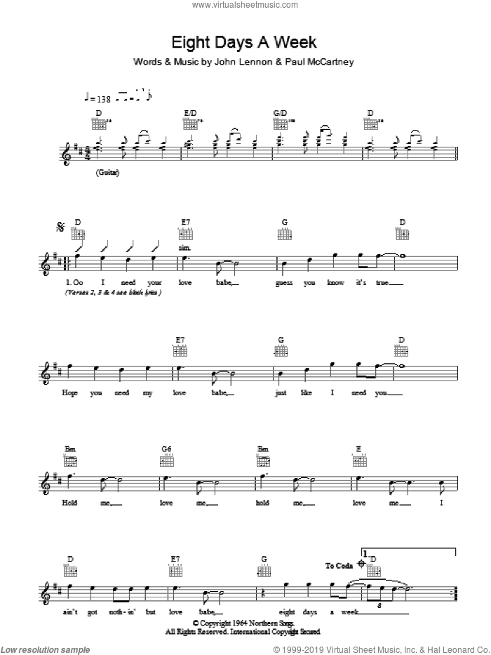 Eight Days A Week sheet music for voice and other instruments (fake book) by The Beatles, John Lennon and Paul McCartney, intermediate skill level