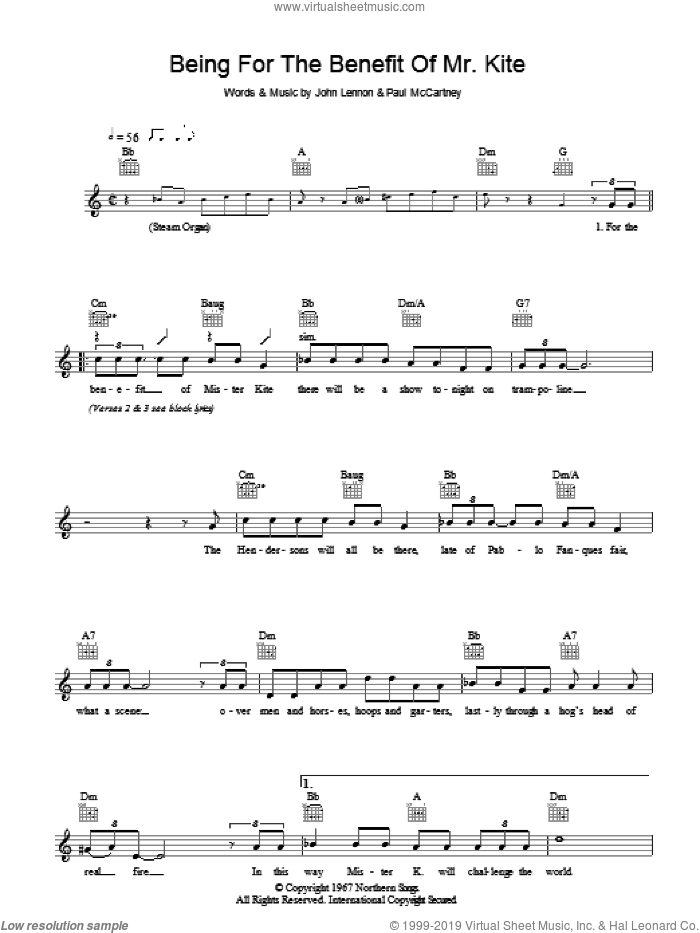 Being For The Benefit Of Mr Kite sheet music for voice and other instruments (fake book) by John Lennon, The Beatles and Paul McCartney. Score Image Preview.