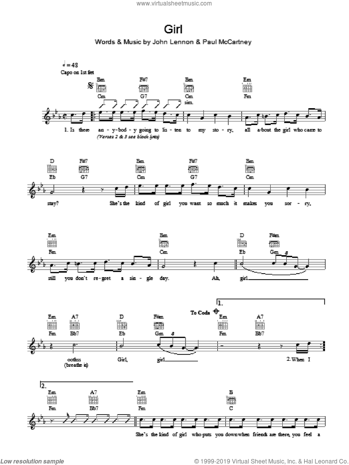 Girl sheet music for voice and other instruments (fake book) by The Beatles, John Lennon and Paul McCartney, intermediate skill level