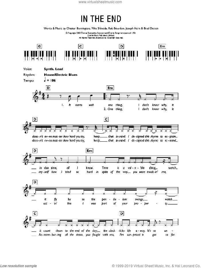 In The End sheet music for voice and other instruments (fake book) by Linkin Park, Brad Delson, Chester Bennington, Joseph Hahn, Mike Shinoda and Rob Bourdon, intermediate skill level