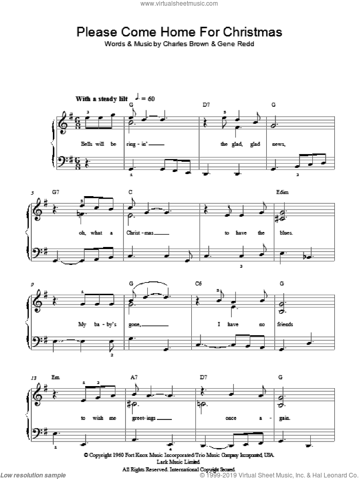 Please Come Home For Christmas sheet music for piano solo by Charles Brown, Eagles and Gene Redd. Score Image Preview.