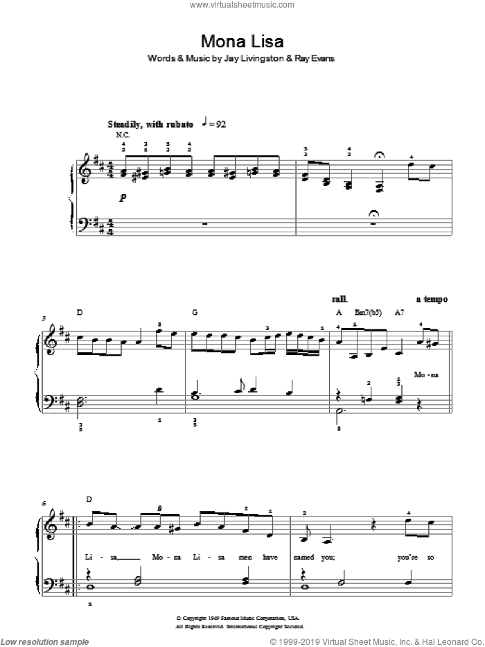 Mona Lisa sheet music for piano solo by Jay Livingston, Nat King Cole and Ray Evans. Score Image Preview.